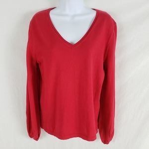 J. Crew Mercantile Sweater VNeck Gathered Cuff Red